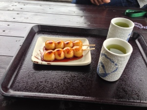 traditional japanese dango on miso syrup